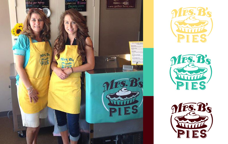 Mrs. B's Pies Aprons & Sign - Pie Logo
